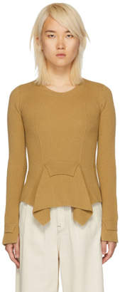 Stella McCartney Tan Knit Front Flare Sweater