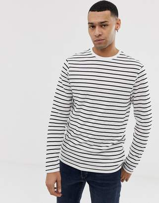 New Look Long Sleeve T-Shirt With Stripe In White