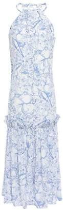 Tibi Gathered Silk Crepe De Chine Midi Dress