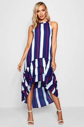 boohoo Stripe Ruffle Tiered Shift Dress
