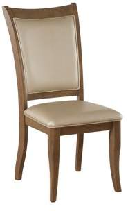 Acme Harald Side Chair, Set of 2 in Beige Leatherette and Gray Oak
