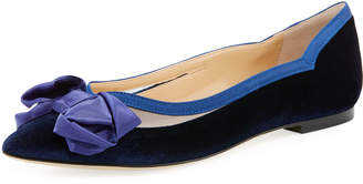 Neiman Marcus Apsley Mixed Fabric Mesh Flat, Blue