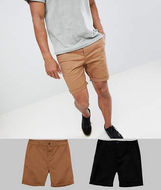 Asos DESIGN 2 pack slim chino shorts in black & camel save