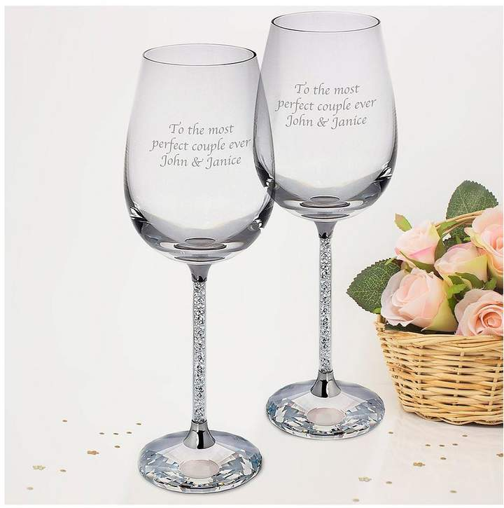 Personalised Set 2 Wine Glasses Filled With Crystal Stems