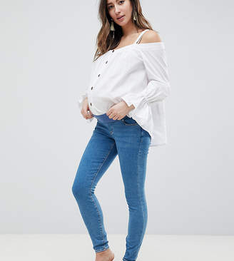Asos Design Maternity Ridley High Waist Skinny Jeans In Light Wash With Under The Bump Waistband