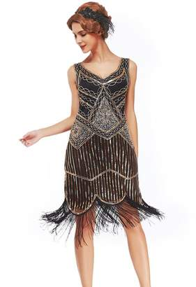 Uniq Sense xs-3xl Women's Roaring 20s V-Neck Gatsby Dresses- Vintage Inpired Sequin Beaded Flapper Dresses (, XL)