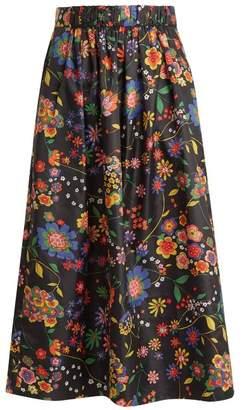Tibi - Floral Print Shell Skirt - Womens - Navy Multi