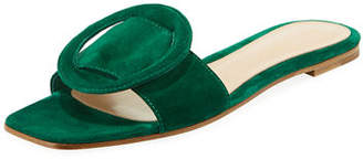 Gianvito Rossi Suede Flat Sandal with Ring Detail