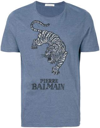 Pierre Balmain tiger embroidered T-shirt