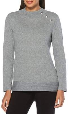 Rafaella Knit Button-Neck Sweater