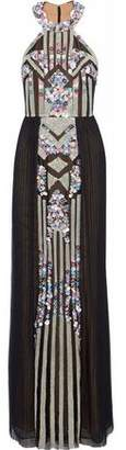 Marchesa Bead And Sequin-Embellished Pleated Tulle Gown