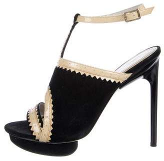 Jason Wu Patent Leather-Trimmed Suede Sandals