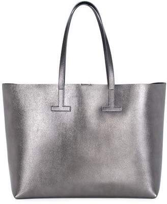 Tom Ford Medium T Saffiano Tote Bag, Gray Metallic