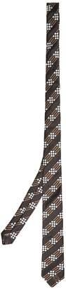Fendi Stripe and check-jacquard silk tie