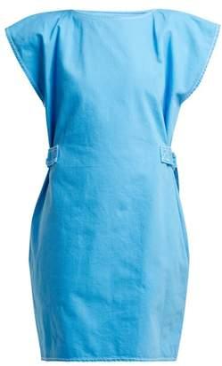 MM6 MAISON MARGIELA Contrast Stitch Belted Cotton Dress - Womens - Blue