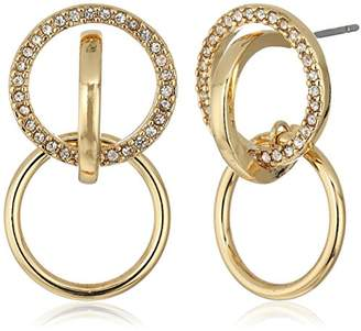 BCBGeneration Pave Circle Post Hoop Earrings