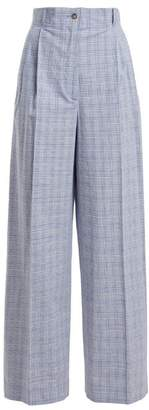 Stella Jean Checked High Rise Cotton Blend Trousers - Womens - Blue