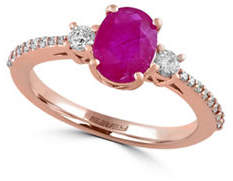 Effy 0.29 TCW Diamond and Ruby 14K Rose Gold Ring