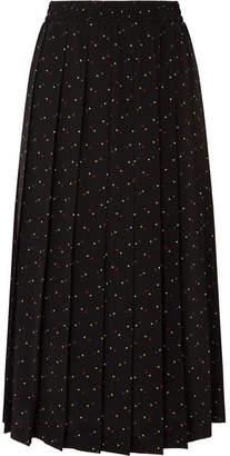 Miu Miu Pleated Printed Silk Crepe De Chine Midi Skirt - Black