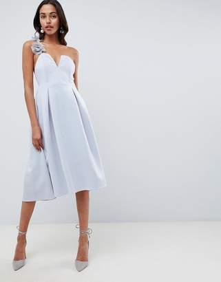Asos DESIGN premium corsage strap prom midi dress