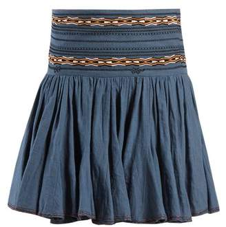 Etoile Isabel Marant Breeda Embroidered Gathered Cotton Skirt - Womens - Mid Blue