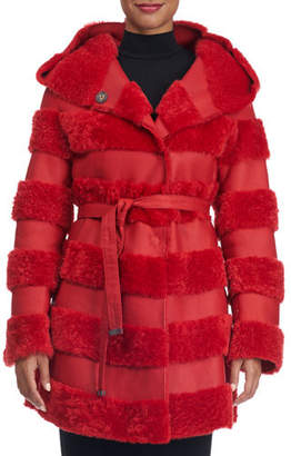 Christia Hooded Leather Jacket with Fur Stripes