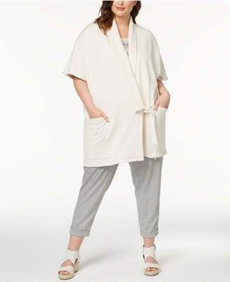 Eileen Fisher Plus Size Organic Cotton Wrap-Front Jacket