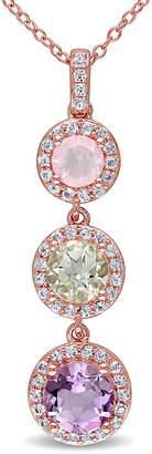 FINE JEWELRY Genuine Rose de France Amethyst, Green and Pink Quartz Pendant Necklace