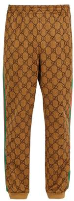 Gucci Gg Print Side Stripe Track Pants - Mens - Brown