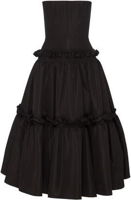 Bea Yuk Mui Alex Perry Ruffled Silk Strapless Midi Dress