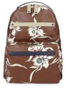 Valentino Floral Print Leather Backpack