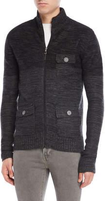 ProjekRaw Projek Raw Black Melange Zipper Sweater