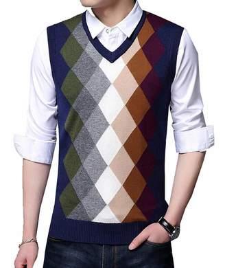 eb911a8184319 Emastor Mens Winter Warm Wool Argyle V-Neck Sleeveless Knitwear Sweater Vest  M