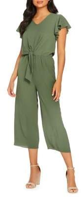 Quiz Ruffle-Sleeve Knot-Front Jumpsuit