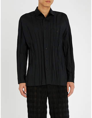 Issey Miyake Slim-fit pleated woven shirt