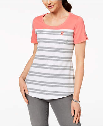 Karen Scott Petite Striped Patch-Pocket Top, Created for Macy's