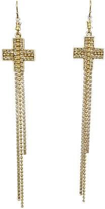 Virgins, Saints & Angels Crystal Cross Earrings
