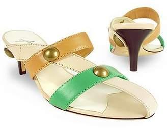Amaltea Cream Front Straps Leather Slide Shoes