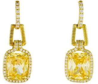 Judith Ripka 18K Diamond & Canary Crystal Arianna Drop Earrings