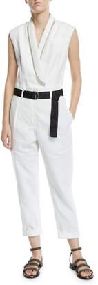 Brunello Cucinelli Belted Sequined-Lapel Linen-Cotton Jumpsuit