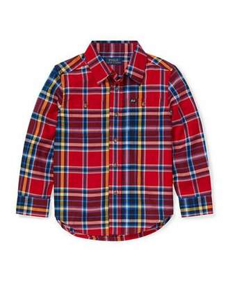 Ralph Lauren Twill Plaid Button-Down Shirt, Size 5-7