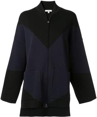 LAYEUR two-tone oversized bomber jacket