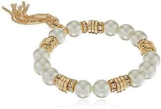 T Tahari White Pearl Tassel Stretch Bracelet