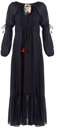 Figue Nicolete V Neck Silk Georgette Dress - Womens - Navy