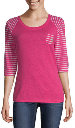 U.S. Polo Assn. 3/4 Sleeve Scoop Neck Stripe T-Shirt-Womens Juniors