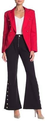 Why Dress Zipper and Button Detail Flare Leg Pants