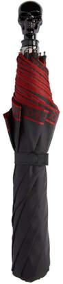 Alexander McQueen Black and Red Selvedge Skull Umbrella