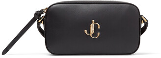 Jimmy Choo HALE Black Leather Cross-Body Bag with JC Emblem