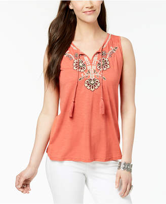 Style&Co. Style & Co Plus Size Embroidered Sleeveless Peasant Top, Created for Macy's