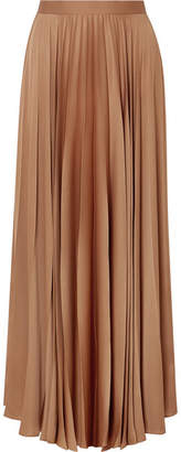The Row Vailen Pleated Crepe De Chine Maxi Skirt - Light brown